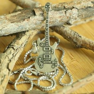 Sterling Silver GUITAR MEN'S SILVER NECKLACE
